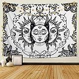 Dremisland Tapiz de Pared Sol y Luna Tapiz Psicodélico Burning Sun Colgar en la Pared Tapiz Blanco y Negro Mandala Indio Mantas de Pared Mural Tela Decoración del Hogar (Blanco, M/130X150cm)