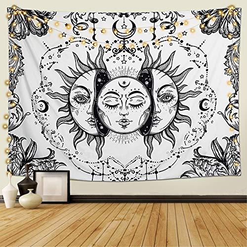 Dremisland Tarot Wandteppich Psychedelische Sonne und Mond Wandteppich Mandala Tuch Wandtuch Schwarz und Weiß Tapisserie Wandbehang Tapestry (Weiß, L / 148x200cm)