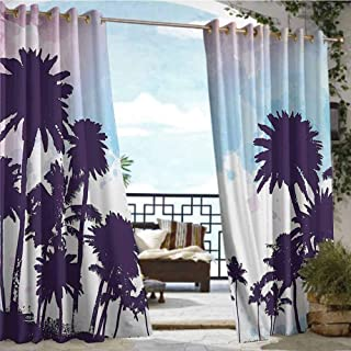 Andrea Sam Exterior/Outside Curtains Tropical,Coconut Palm Tree Silhouettes Summer Holiday Watercolors Picture,Plum Pale Blue Lilac,W84 xL96 Thermal Insulated Water Repellent Drape for Balcony