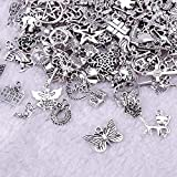 200 Pieces Charms for Jewelry Making Wholesale Bulk, Mixed Antique Silver Charms Pendants for DIY Necklace Bracelet Jewelry Making Crafting