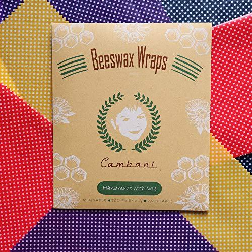 Cambani Emballage Alimentaire à la Cire D'abeille |Paquet de 8| Fait Main en Europe (2 Petit 2 Moyen 2 Grand 2 Extra Grand)