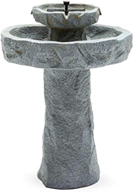 BS Rustic Solar Outdoor Bird Bath On Demand Stone 2 Tier Patio Rock Fountain Pedestal Birdbath Bowl Garden Decor Backyard Lawn Resin Stone Fountain Pump& eBook by BADA Shop