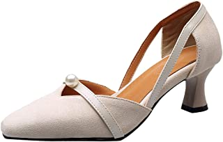 BeiaMina Women Sweet Court Shoes Wine Glass Heel