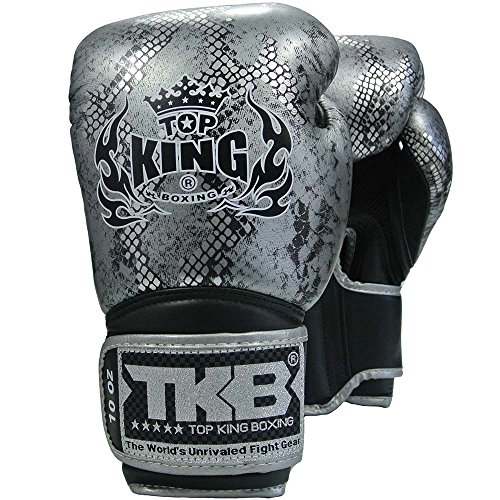 KINGTOP TOP King Boxhandschuhe, Python, schwarz-Silber, Boxing Gloves, Muay Thai, Leder Size 14 Oz