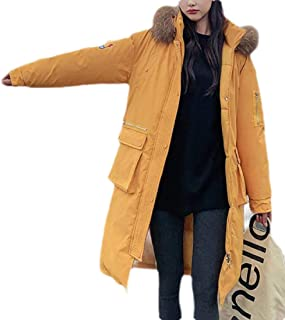 Womens Winter Long Down Jacket with Faux Fur Hood Down Coat Jackets