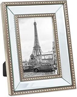 Isaac Jacobs 4x6 Champagne Mirror Bead Picture Frame - Classic Mirrored Frame with Dotted Border Made for Wall Display, Tabletop, Photo Gallery and Wall Art (4x6, Champagne)