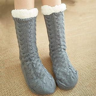 Gogh, Gogh Caliente Grueso Calcetines Zapatillas, Antideslizante señoras mullidas Calcetines para el Dormitorio del Piso de la Sala,Gris