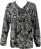 Susan Graver Printed Liquid Knit Top Black XXS New A286722