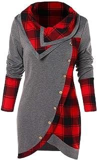 Tops for Women,Sale💖Blouse Women Long Sleeve Plaid Turtleneck Tartan Tunic Sweatshirt Pullover Tops