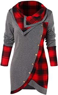 Women's Button Hoodie Sweatshirt Tunic Dress Pullover Cowl Neck Plaid Drawstring Tops(S-5XL)