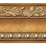 FIXPIX Flor moldeo cáscara y palillo de la pared frontera fácil de aplicar (café oro)
