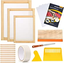 Caydo 23 Pieces Screen Printing Starter kit Include 3 Different Size of Wood Silk Screen Printing Frame with Mesh, Screen ...