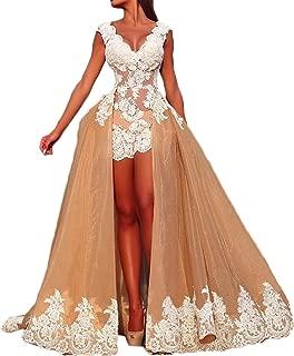 Women's V Neck Prom Dress Lace Appliques W/ Detachable Train