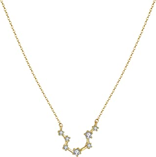 Constellation Zodiac Necklace, 14K Gold Plated Horoscope Pendant Necklace Delicate Rhinestone Zodiac Sign Elegant CZ Constellation Necklace for Women