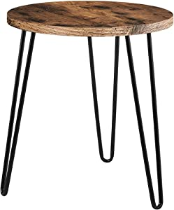 Sodagreen Side Table Retro Nightstand End Table Round Iron Coffee Table Home Telephone Table Space Saving Bedside Table for Home Living Room Bedroom Balcony Family and Office, Easy Assembly (Retro)