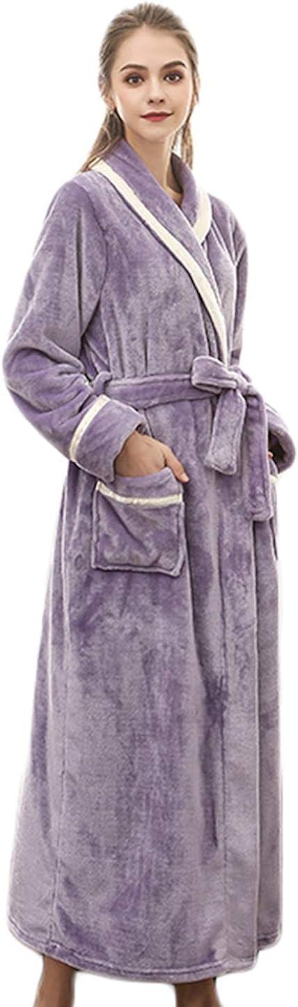 ZumZup Women's Men's Bathrobe Full Length Coral Fleece Dressing Gowns Turkish Housecoat Sleepwear