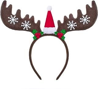Christmas Headband Reindeer Antler Hair Hoop Headpiece for Christmas Party (Dark Brown)