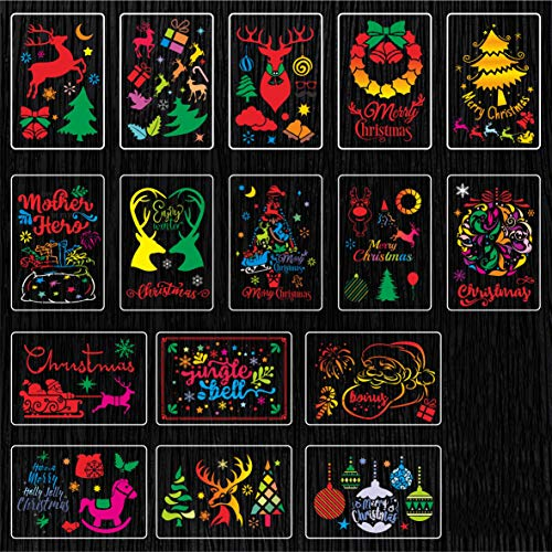Navidad Plantilla de Pintura 16 piezas Navidad Plantillas Dibujo 16 * 13cm Plástico Reutilizable Manualidades Painting Stencils para Manualidades Diario Pintura Navidad Decoración