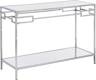 Mirrored Table - Chrome Console Table with Mirror Top & Lower Shelf (Console Table)