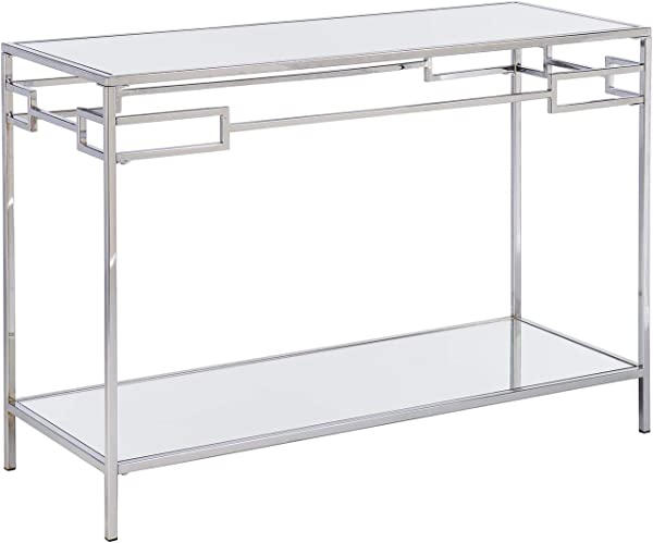 Mirrored Table Chrome Console Table With Mirror Top Lower Shelf Console Table