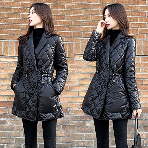 SDCVRE Chaqueta Parker,New Women Elegant Warm Down Jacket White Duck Jackets Autumn and Winter Coats Parkas Female Fashion Outwear,Black,S