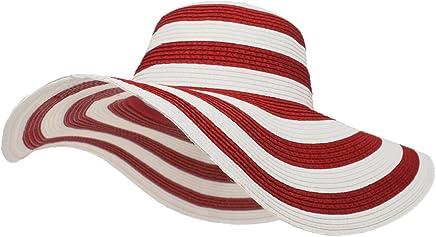 6f0ea0640c8 Roffatide Women s UPF50+ Foldable Striped Straw Sun Hat Floppy Wide Brim  Beach Cap