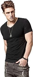 Men's Short-Sleeved T-Shirt Slim V-Neck T-Shirt Undershirt Summer Sports 3X-Large,V Black