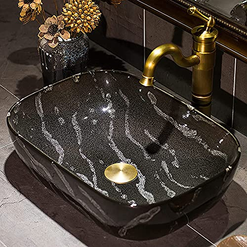 MNSSRN Cuenca de Lavado de mármol de Alta Temperatura, Fregadero Pintado a Mano Oval Cuarto de baño Lavabo Lavabo de baño de encimera anticuado, renovación de baño