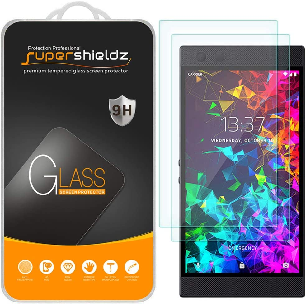 (2 Pack) Supershieldz Designed for (Razer Phone 2) Tempered Glass Screen Protector, Anti Scratch, Bubble Free