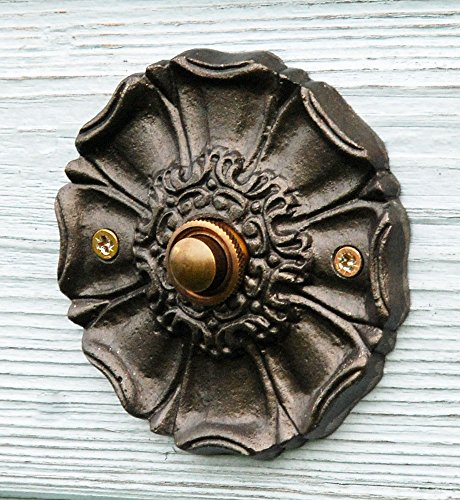 Timbre redondo empuje antiguo Harworth puerta zumbador