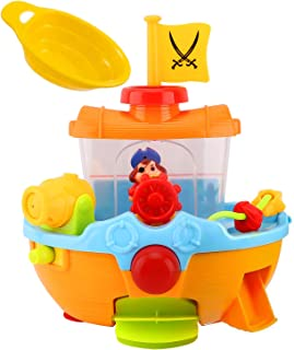 Zooawa Pirate Ship Bath Toy, Squirt Water Boat Toys for Toddler Kids, Bathtime Bathtub Playing Funny Toy with Small Flag, Water Scoop, Rudder, Paddle and Water Cannon, Colorful