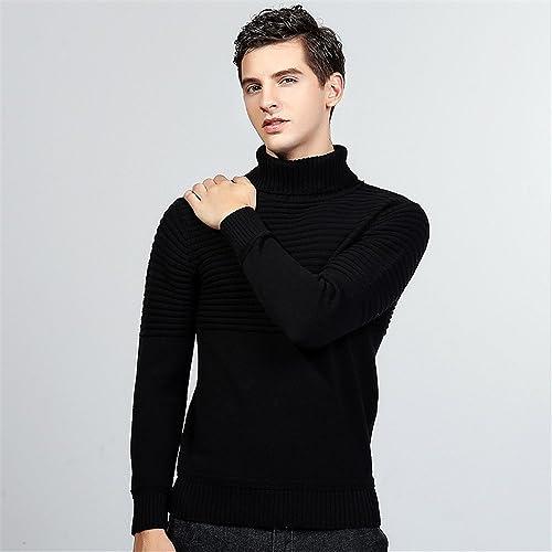 Jdfosvm Chandails pour Hommes Hommes Jeunes Britanniques Mode Style Polo Cou Pull Pull,noir,m