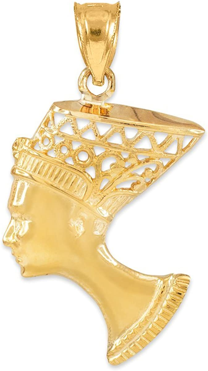 Textured 14k Yellow Gold Egyptian Queen Nefertiti Filigree Necklace Pendant