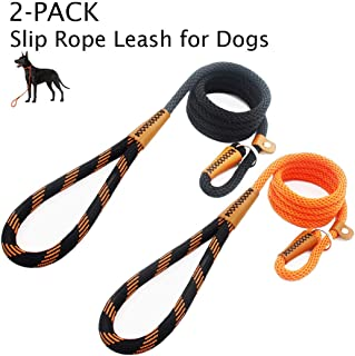 lynxking Dog Leash Rope Leads 2 Packs 6ft Strong Snap Hook Slip Leashes Hand Made Leather Clips with Double Layer Braided Handle for Small Medium Large Dogs