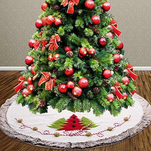 Christmas Tree Skirt White Faux Fur Border Large Luxury Skirt with Classic Jingle Bell Thicken Plush Christmas Decorations 48 inch