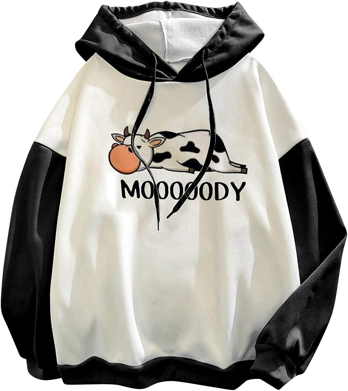 DOSUKRAI Teen Girls Cute Cow Pattern Hoodies Crewneck Long Sleeve Tops Autumn Winter Pullover Warm Sweatshirt