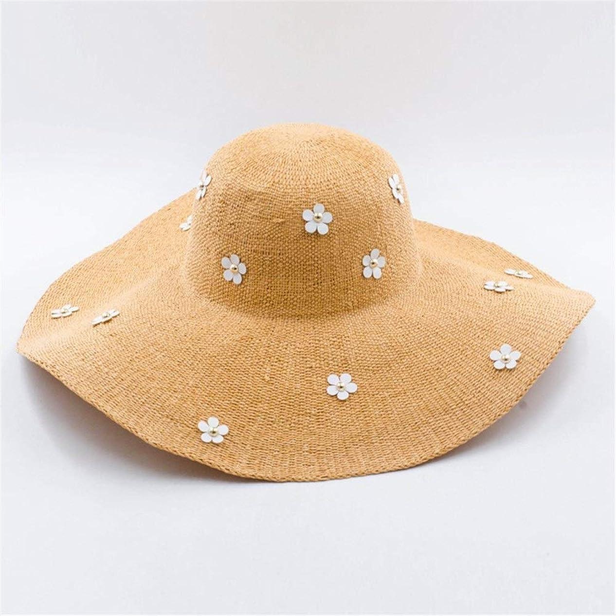 チョップ頂点入学する麦わら帽子ビーチ日焼け止め大きな麦わら帽子屋外旅行麦わら帽子に沿って小さな花