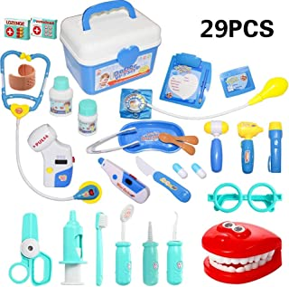 HOWADE 29 Pieces Doctor Kit,Medical Pretend Play Doctor Toy Set in Storage Box- Battery Operated Tools with Lights & Sound...