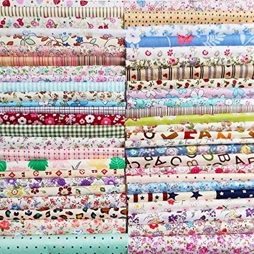 N A 50 Stück Baumwollstoff Baumwolle Nähstoffe Patchwork DIY Stoffpaket mit zufälligen Muster Zugeschnittene Stoff Quadrate zum Nähen Handwerk Deko 30x30cm Blumenreich