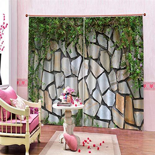 EZEZWSNBB Cortinas Opacas - Muro de Piedra Irregular -poliéster 150 x 166 CM Proteger la privacidad - Reducción de Ruido - Adecuado para Salas de Estar Dormitorio Cuarto de los niños