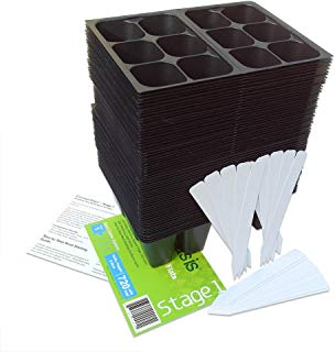 720 Cell Seedling Starter Trays, 20 Plant Labels & Directions, MADE IN USA, (10 Flats: 120 Trays; 6-Cells Per Tray, MEDIUM Size); STAGE 1 by Coconut Oasis