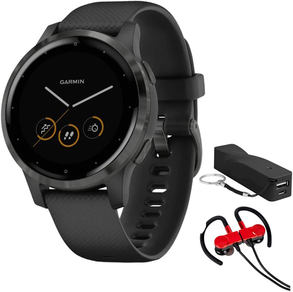 Garmin 010-02172-11 Vivoactive 4S Smartwatch, Black/Slate Bundle with Deco Gear Magnetic Wireless Sport Earbuds, Red with Carrying Case and Voltix 2600mAh Portable Power Bank
