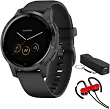 Garmin 010-02172-11 Vivoactive 4S Smartwatch, Black/Slate Bundle with Deco Gear Magnetic Wireless Sport Earbuds, Red with ...