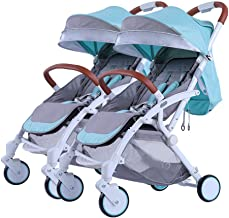 Double Stroller Pushchair, Easy Compact Folding Sport Stroller Baby Buggy One Step Design for Opening Folding with Rain Cover Cup Holder Hooks Lightweight