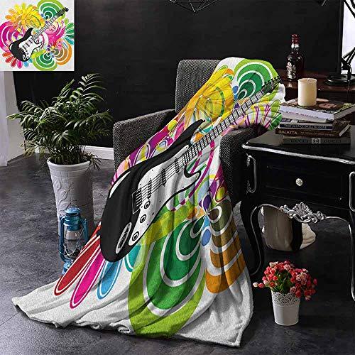 ZSUO Digital Printing Deken Dj Bulldog met Hoofdtelefoon Luisteren naar Muziek achter Witte Banner Extra Gezellig, Machine Wasbaar, Comfortabele Home Decor