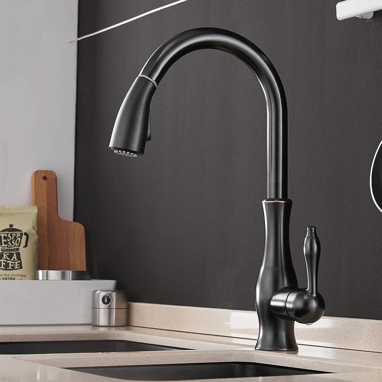 Küchen-Wasserhahn Küchenfauben schwarz Single Handle Pull Out Kitchen Tap Single Hole Handle Swivel 360 Grad Wassermischer Tap