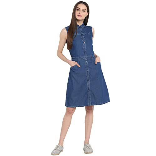 8f6f3754e0 StyleStone (3327DnmFrntBtnLoop) Women s Denim Shirt Style Front Button Dress