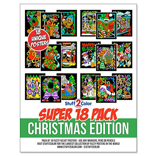 Super Pack of 18 Fuzzy Velvet Coloring Posters (Christmas Edition) - Celebrate The Holidays with Color - Excellent Family-Time Craft Project with Plenty of Posters to Share and Color - All Ages DIY Coloring Fun (Kids, Toddlers, and Adults)