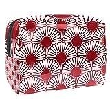 TIZORAX Bolsa de cosméticos para mujer, diseño japonés crisantemo, sin costuras, para viajes, artículos de tocador, grandes bolsas de PVC para maquillaje, práctico organizador con cremallera