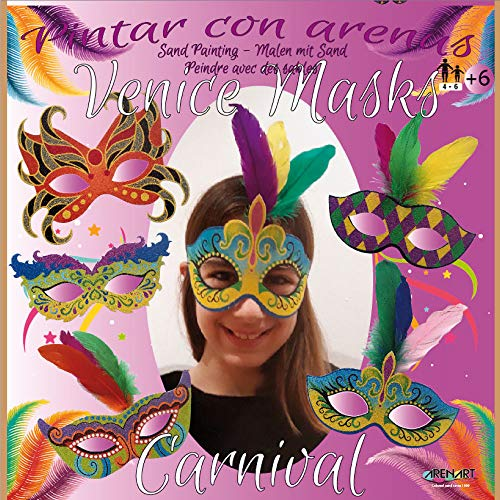 Arenart - Set Pintar con Arenas de Colores - 5 Máscaras Carnaval Venecia